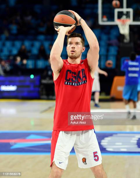 Alec Peters #5 of CSKA Moscow warmsup prior to the 2018/2019 Turkish Airlines EuroLeague Regular Season Round 27 game between Anadolu Efes Istanbul...
