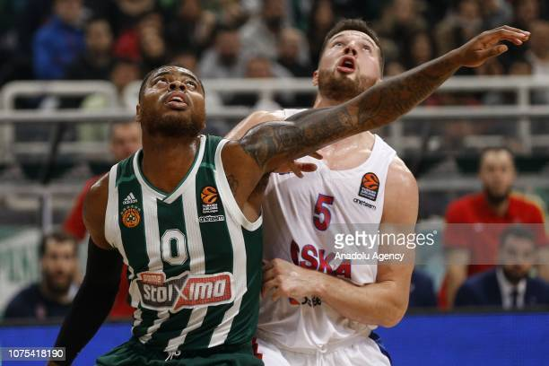 Alec Peters of CSKA Moscow in action against Deshaun Thomas of Panathinaikos during Turkish Airlines Euroleague basketball match between...