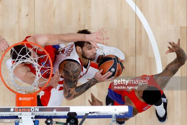Alec Peters of CSKA Moscow in action against Gerogios Printezis of Olympiacos during Turkish Airlines Euroleague match between CSKA Moscow and...