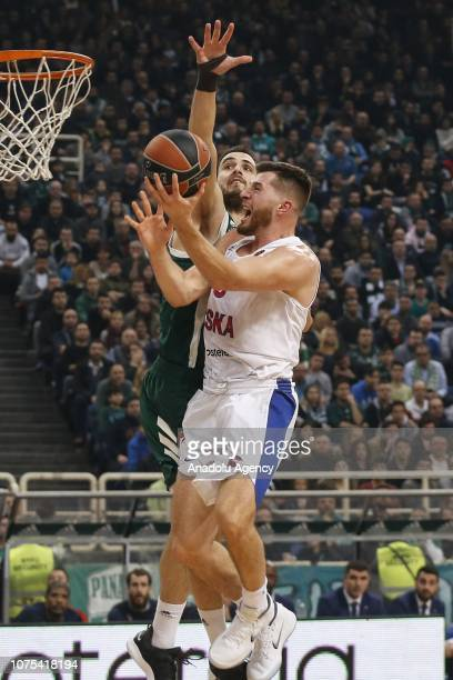 Alec Peters of CSKA Moscow in action against Ioannis Papapetrou of Panathinaikos during Turkish Airlines Euroleague basketball match between...