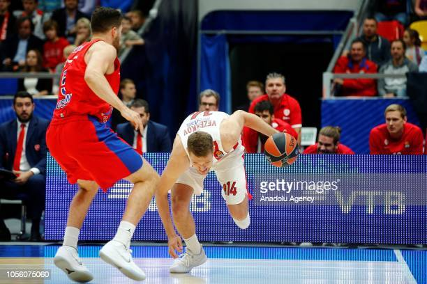 Alec Peters of CSKA Moscow in action against Sasha Vezenkov of Olympiacos during Turkish Airlines Euroleague match between CSKA Moscow and Olympiacos...