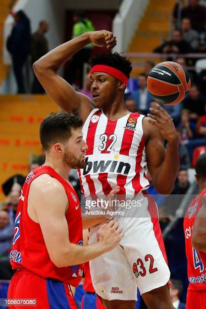 Alec Peters of CSKA Moscow in action against Zach Leday of Olympiacos during Turkish Airlines Euroleague match between CSKA Moscow and Olympiacos on...