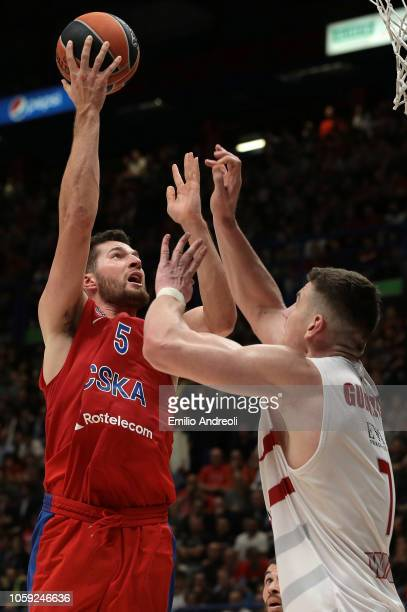 Alec Peters of CSKA Moscow shoots against Arturas Gudaitis of AX Armani Exchange Olimpia Milan during the Turkish Airlines EuroLeague Regular Season...
