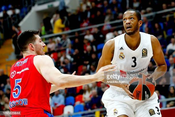 Alec Peters of CSKA Moscow vies with Anthony Randolph of Real Madrid during the Turkish Airlines Euroleague match between CSKA Moscow and Real Madrid...