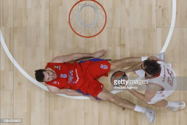 Alec Peters of CSKA Moscow vies with Danilo Barthel of FC Bayern Munich during the Turkish Airlines Euroleague match between CSKA Moscow and FC...
