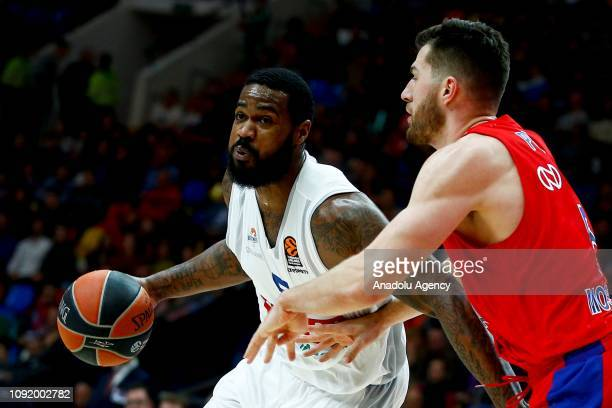 Alec Peters of CSKA Moscow vies with Earl Clark of Buducnost during the Turkish Airlines Euroleague match between CSKA Moscow and Buducnost at the...