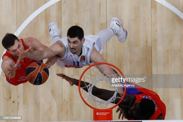 Alec Peters of CSKA Moscow vies with Goga Bitadze of Buducnost during the Turkish Airlines Euroleague match between CSKA Moscow and Buducnost at the...
