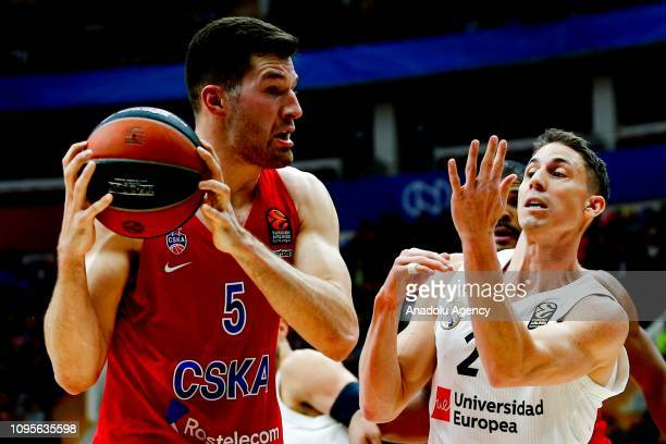 Alec Peters of CSKA Moscow vies with Jaycee Carroll of Real Madrid during the Turkish Airlines Euroleague match between CSKA Moscow and Real Madrid...