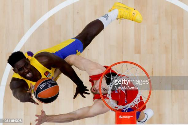 Alec Peters of CSKA Moscow vies with Johnny OBryant of Maccabi during the Turkish Airlines Euroleague match between CSKA Moscow and Maccabi Tel Aviv...