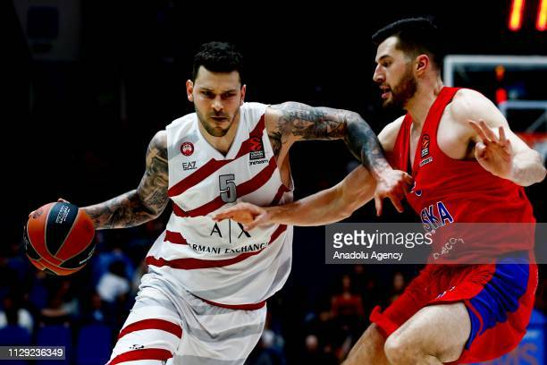Alec Peters of CSKA Moscow vies with Vladimir Micov of AX Armani Exchange Olimpia Milan during the Turkish Airlines Euroleague match between CSKA...