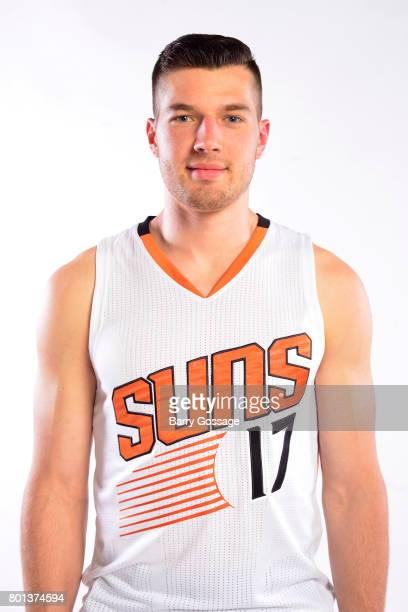 Alec Peters of the Phoenix Suns is introduced to the team during a portrait shoot on June 23 2017 at the Talking Stick Resort Arena in Phoenix...