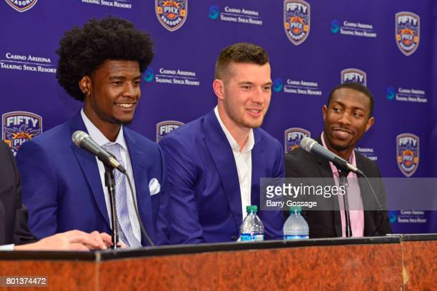 Alec Peters of the Phoenix Suns talks to the media during a press conference after being introduced to the team on June 23 2017 at the Talking Stick...