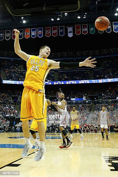 Alec Peters of the Valparaiso Crusaders attempts to grab a rebound during the second round of the 2015 NCAA Men's Basketball Tournament at Nationwide...