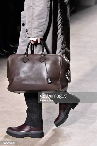 Alec Pollentier, bag detail, walks the runway during the Hermes Menswear Fall/Winter 2020-2021 show as part of Paris Fashion Week on January 18, 2020...