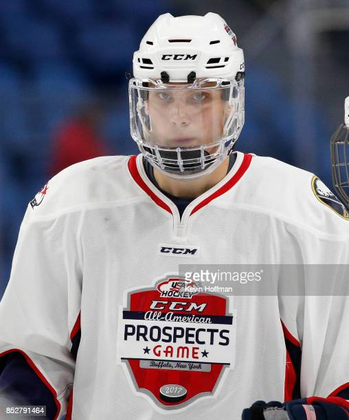 Alec Regula of Team Chelios during the CCM/USA Hockey AllAmerican Prospects Game against Team Leetch at the KeyBank Center on September 21 2017 in...