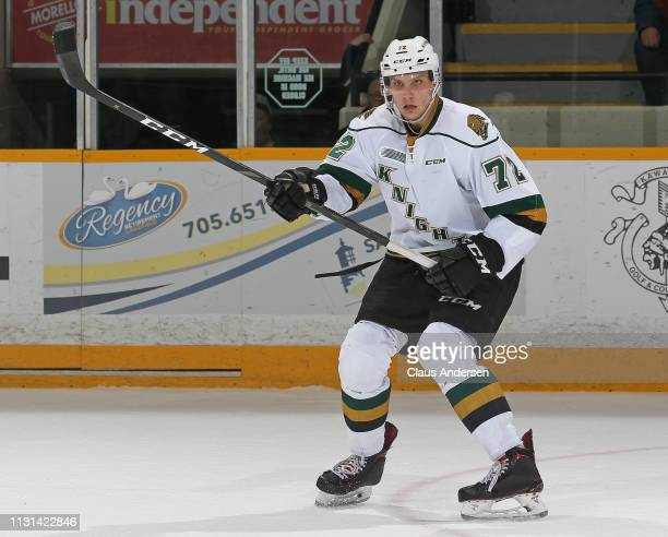 Alec Regula of the London Knights skates against the Peterborough Petes in an OHL game at the Peterborough Memorial Centre on February 21 2019 in...
