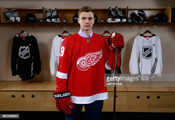 Alec Regula poses for a portrait after being selected 67th overall by the Detroit Red Wings during the 2018 NHL Draft at American Airlines Center on...