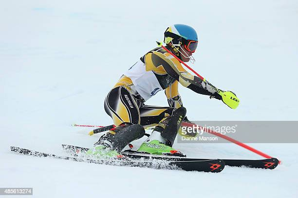 Alec Scott of Australia competes in the Alpine Slalom FIS Australia New Zealand Cup during the Winter Games NZ at Coronet Peak on August 29 2015 in...