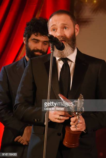 Alec Secareanu and Francis Lee accept the Everyman Award for Best Film for 'God's Own Country' at the London Evening Standard British Film Awards...