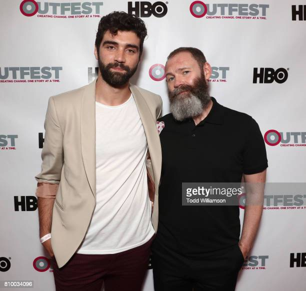 Alec Secareanu and Francis Lee attend the 2017 Outfest Los Angeles LGBT Film Festival Opening Night Gala at Orpheum Theatre on July 6 2017 in Los...