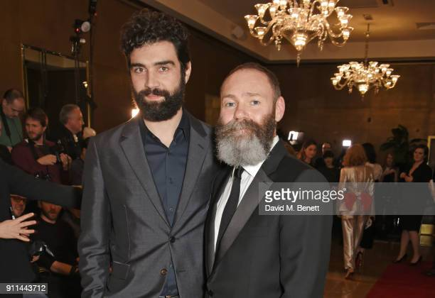 Alec Secareanu and Francis Lee attend the London Film Critics' Circle Awards 2018 at The May Fair Hotel on January 28 2018 in London England
