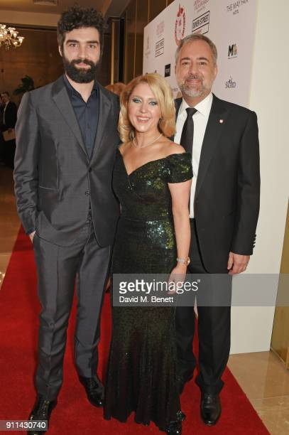 Alec Secareanu Anna Smith and Rich Cline attend the London Film Critics' Circle Awards 2018 at The May Fair Hotel on January 28 2018 in London England