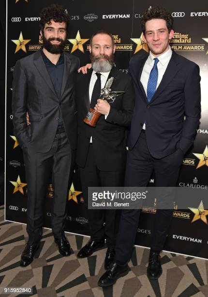 Alec Secareanu Francis Lee and Josh O'Connor pose with the Breakthrough of the Year award for 'God's Own Country at the London Evening Standard...
