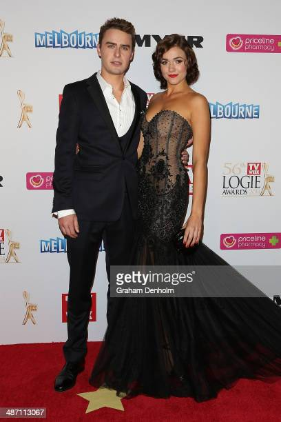 Alec Snow and Demi Harman arrive at the 2014 Logie Awards at Crown Palladium on April 27 2014 in Melbourne Australia