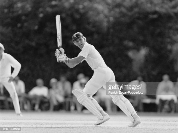 Alec Stewart batting for Surrey during the Britannic Assurance County Championship match at Guildford, 29th June 1987. Surrey won by 109 runs.