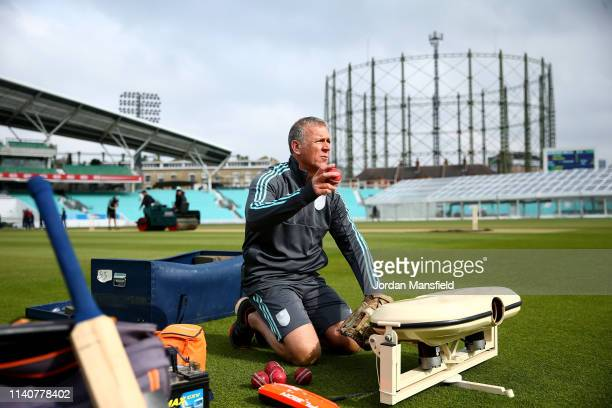 Alec Stewart during warmup prior to the start of day three of the English MCC University Match between Surrey and Durham University at The Kia Oval...