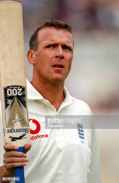 Alec Stewart of England acknowledges the crowd's applause at the end of his innings during day two of the Third npower Test match between England and...