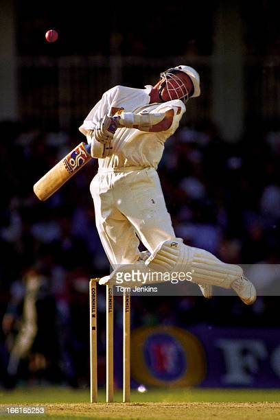Alec Stewart of England avoids a bouncer from Wasim Akram of Pakistan during the 3rd test match England versus Pakistan at the Oval cricket ground on...