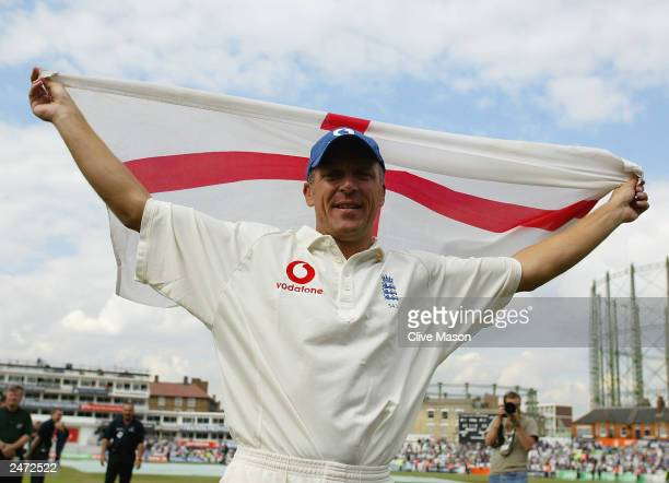 Alec Stewart of England celebrates England's victory over South Africa during the fifth day of the fifth npower test match between England and South...