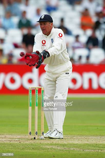 Alec Stewart of England in action during the fourth day of the third npower test match between England and South Africa on August 17, 2003 at Trent...