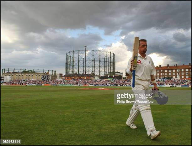 Alec Stewart of England leaves the field after his last batting innings during the 5th Test match between England and South Africa at The Oval,...
