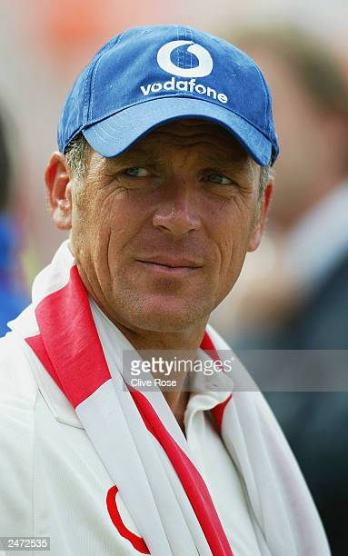 Alec Stewart of England looks pensive after England's victory over South Africa on the fifth day of the fifth npower test match between England and...