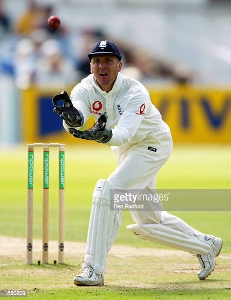 Alec Stewart of England prepares to catch the ball during the fifth day of the NPower Second Test match between England and India on August 12 2002...