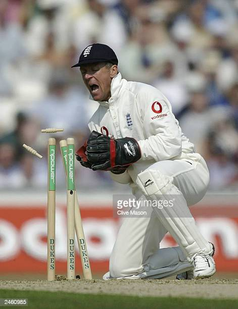 Alec Stewart of England runs out Graeme Smith of South Africa during the first day of the fifth npower test match between England and South Africa at...