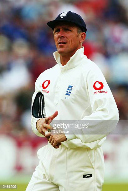 Alec Stewart of England walks off at the end of South Africa's first innings during the third day of the first npower test match between England and...