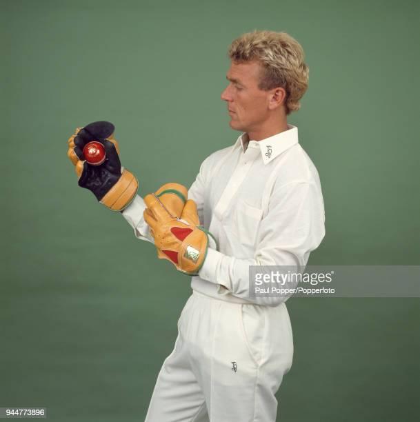 Alec Stewart of Surrey and England advertising Kookaburra cricket equipment, circa 1992.