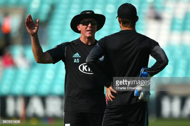 Alec Stewart of Surrey chats prior to the warm up during the Vitality Blast match between Surrey and Kent Spitfires at The Kia Oval on July 6 2018 in...