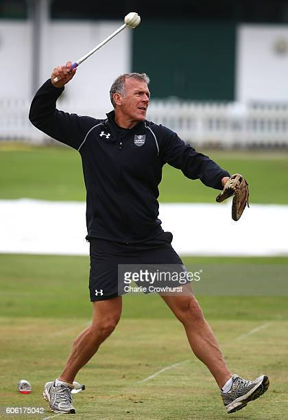 Alec Stewart of Surrey warms up the players in the nets during the Royal London One Day Cup Final Previews at Lords on September 16 2016 in London...