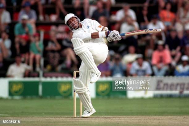 Alec Stewart pulls Henry Olonga to square leg on his way to a century against Zimbabwe at the Harare Sports Club.