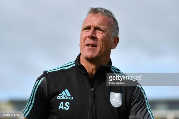 Alec Stewart Surrey's Director of Cricket looks on prior to the start of play on day one of the Specsavers County Championship Division One match at...