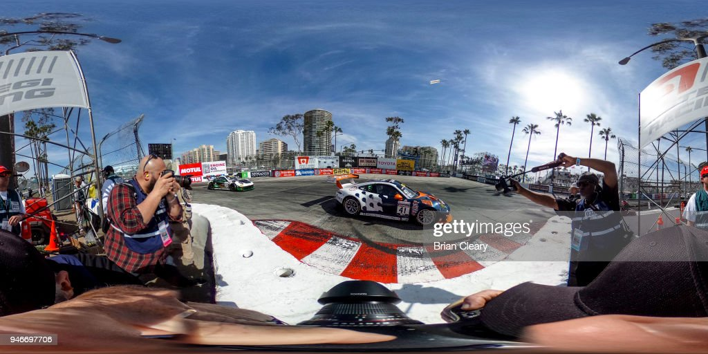 Alec Udell drives the #41 Porsche through a turn during the Pirelli World Challenge GT race at the Toyota Grand Prix of Long Beach on April 15, 2018 in Long Beach, California.