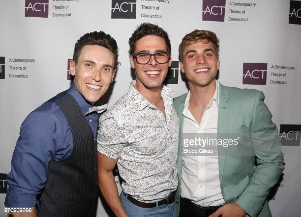 Alec Varcas James Oblak and Paul Schwensen pose at the Opening Night Gala for'Mamma Mia' at ACT of Connecticut on June 9 2018 in Ridgefield...