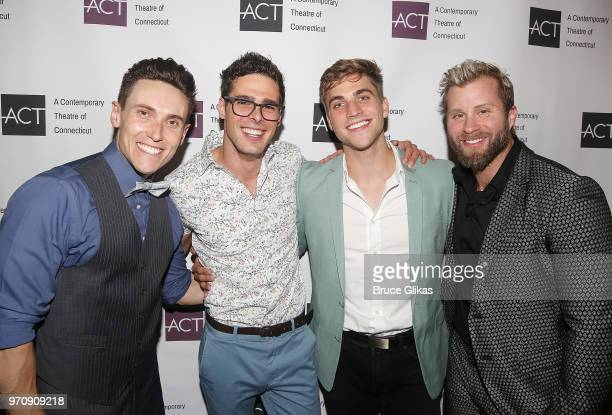 Alec Varcas James Oblak Paul Schwensen and Craig Ramsay pose at the Opening Night Gala for'Mamma Mia' at ACT of Connecticut on June 9 2018 in...