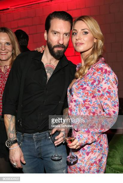 Alec Voelkel member of 'The Boss Hoss' and his wife Johanna Michels during the Marc Cain Fashion Show Berlin Autumn/Winter 2018 at metro station...
