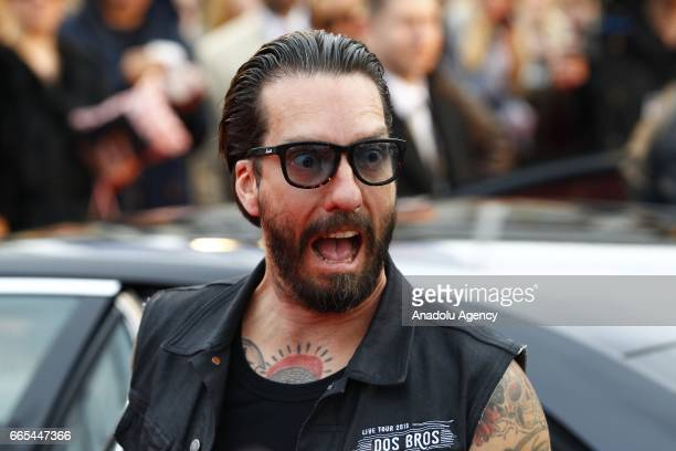 Alec Voelkel or Boss Burns singer of the German band named the Boss Hoss gestures during the ECHO German Music Award in Berlin Germany on April 06...
