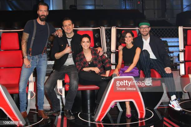 Alec Voelkel Sascha Vollmer Stefanie Kloss Lena MeyerLandrut and Mark Forster during the photo call for the show The Voice Kids on January 28 2019 in...